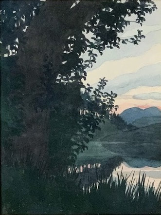 NHAC painting: Aiden Lassell Ripley (1896-1969), Watercolor Landscape, $1,295