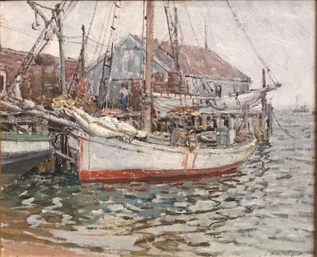 NHAC painting: Aldro Thompson Hibbard (1886-1972), Provincetown Dock, oil on board, $24,000