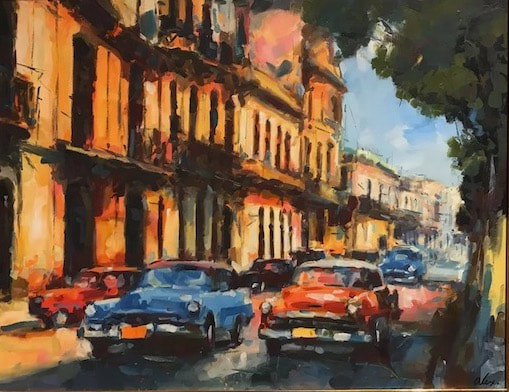 NHAC painting: Alexi Leyva (b. 1969), Cuban Impressionist Painting with Vintage Cars, Habana Vieja, oil on linen, $3,500
