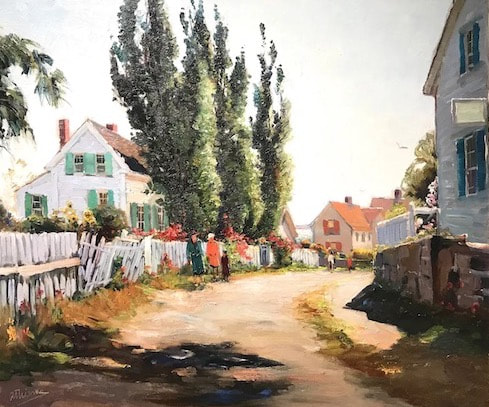 NHAC painting: Anthony Thieme (1888-1954), The Other Side of Town, Rockport, MA, oil on canvas, $28,000