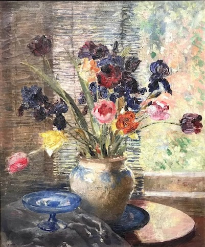 NHAC painting: Arthur Woelfle (1873-1936), Still Life with Flowers, 1925, $9,800