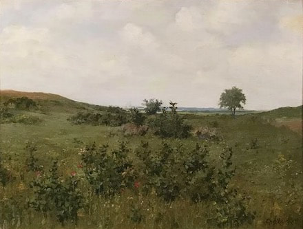 NHAC painting: Charles Elmer Langley (late 19th c),  Fields & Flowers, $6,500