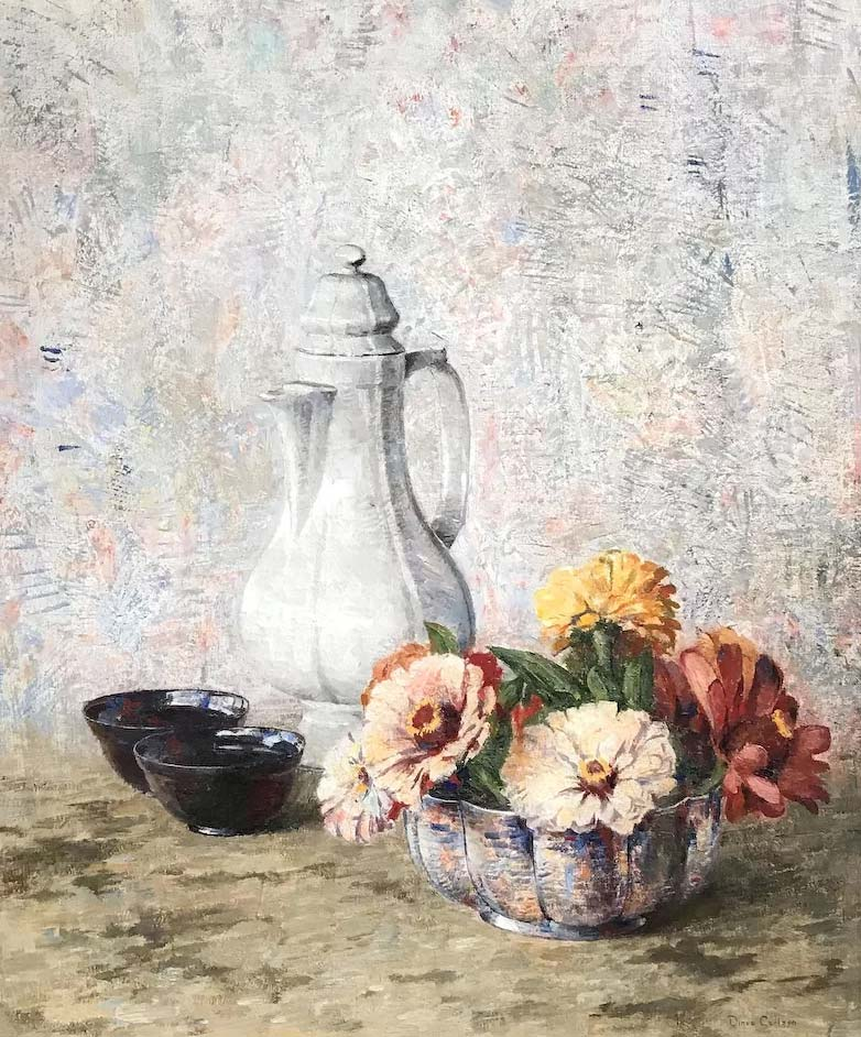 NHAC painting: Dines Carlsen, Still Life with Coffee Pot, Bowls, and Flowers