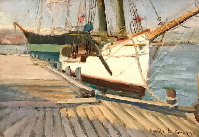 NHAC painting: Emile Albert Gruppe (1896-1978), Docked Boats with American Flag, $12,000