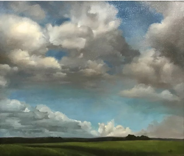 NHAC painting: Mary Phillips (20th c), Clouds As Prayer Over The Land, $1,200
