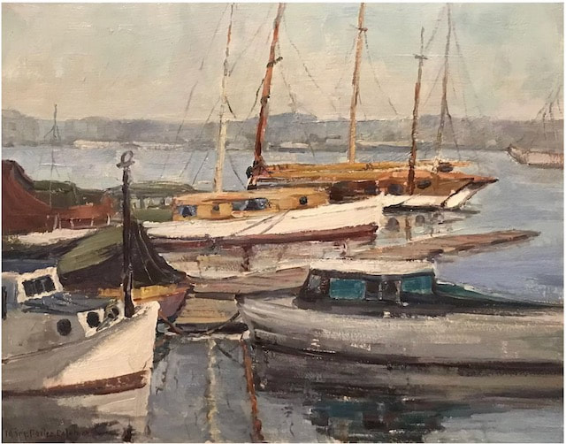 NHAC painting: Mary Suehanna Darter Coleman (1893-1956), Harbor View with Boats, $2,800