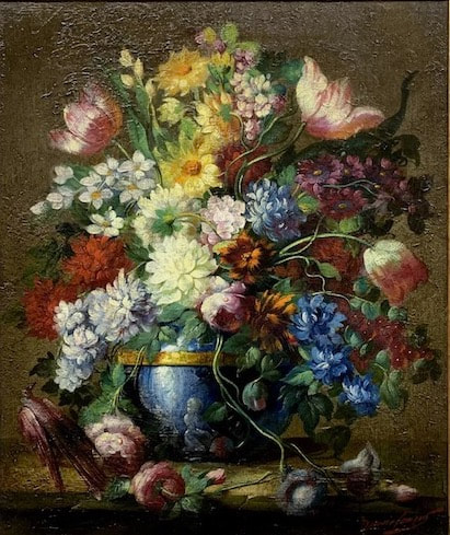 NHAC painting: Maurice Compris (1885-1939), Floral Still Life, $1,400