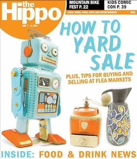 The Hippo Press cover - yard sale feature with retro finds